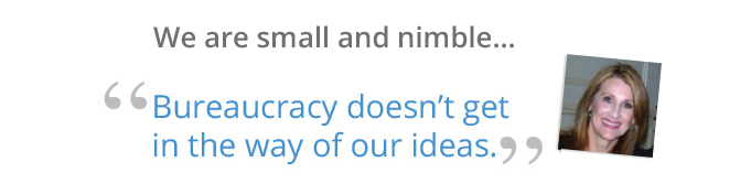 We are small and nimble... bureaucracy doesn't get in the way of our ideas.